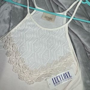Lucy love white lace flowy tank top